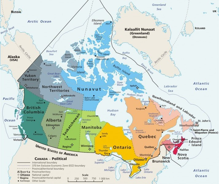 Resultado de imagen para canadá provincias